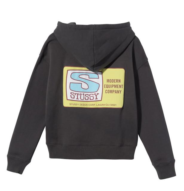 P.60①218127 Agness Boxy Crop Hood Fleece Charcoal Back