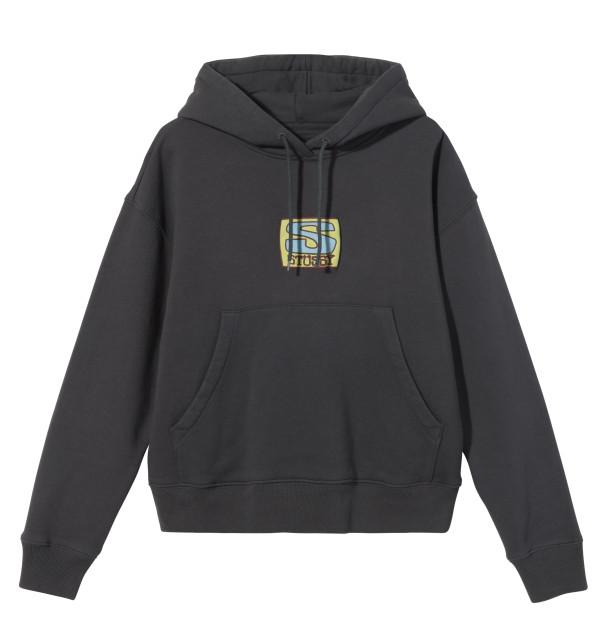 P.60①218127 Agness Boxy Crop Hood Fleece Charcoal Front